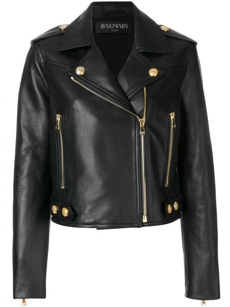 Кожаная куртка черная байкерская Balmain