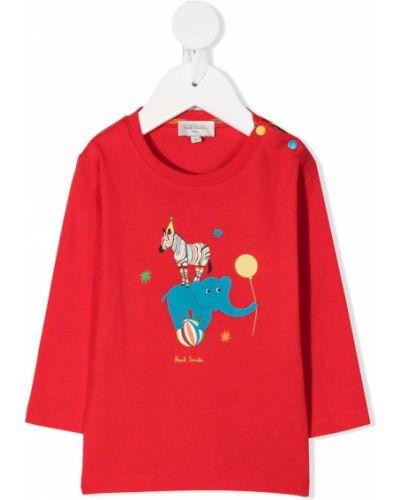 Красная хлопковая прямая футболка с круглым вырезом Paul Smith Junior