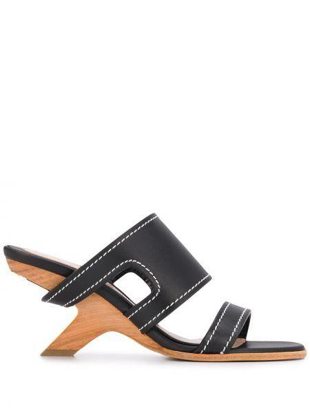 Sandały skórzany czarne Alexander Mcqueen