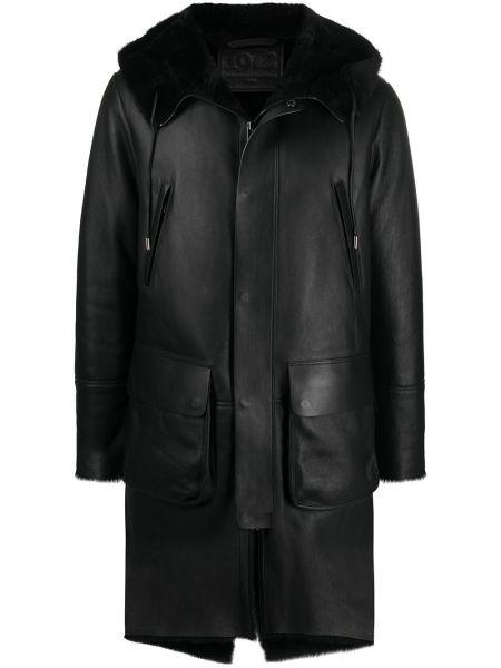С рукавами кожаное черное длинное пальто на молнии Desa 1972