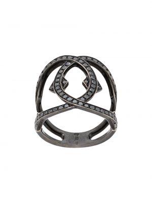 Черное кольцо с бриллиантом Loree Rodkin