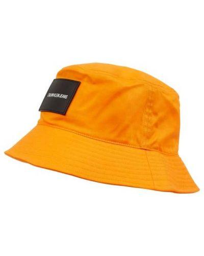 Pomarańczowa czapka bawełniana Calvin Klein Jeans