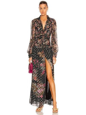 Платье макси на пуговицах - черное Rococo Sand