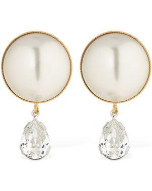 Szare złote kolczyki sztyfty perły Ca&lou