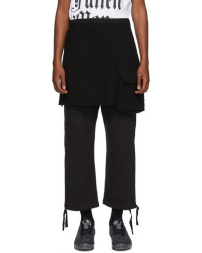 Wełniany czarny spódnica mini z kieszeniami Undercover