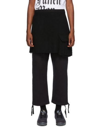 Шерстяная черная юбка мини с карманами Undercover