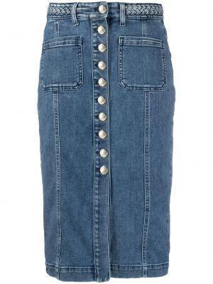 Niebieska spódnica ołówkowa z wysokim stanem z paskiem Pinko