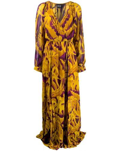 Платье макси с запахом с V-образным вырезом Just Cavalli