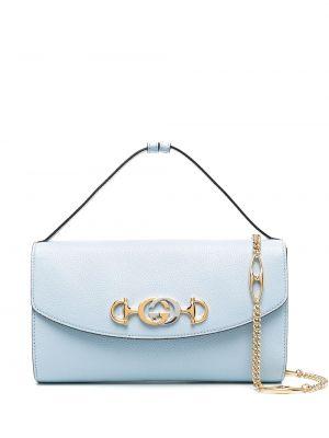 Skórzany srebro torba kosmetyczna z kieszeniami z łatami Gucci