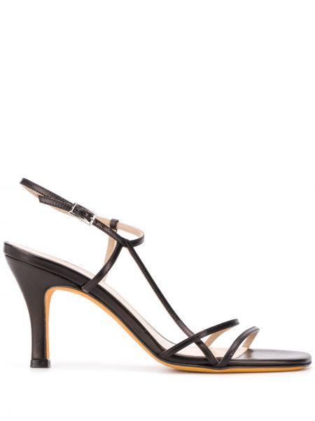 Sandały skórzane na obcasie - czarne Maryam Nassir Zadeh