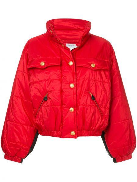 Красная свободная дутая куртка на кнопках с манжетами Chanel Pre-owned