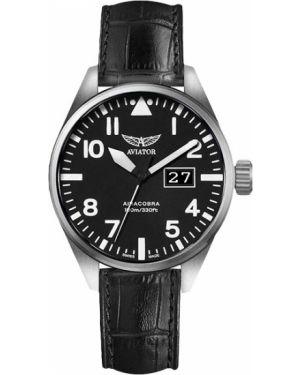 Кварцевые часы с кожаным ремешком швейцарские Aviator