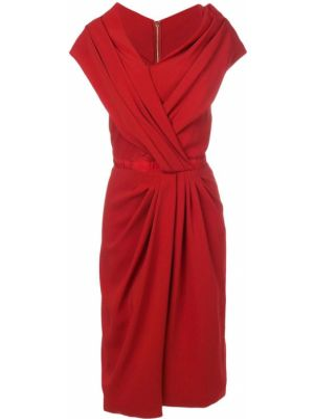 Плиссированное шелковое красное платье Vionnet