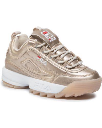 Złote sneakersy Fila