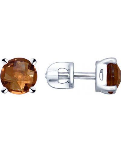 Серьги-гвоздики - серебряные Sokolov