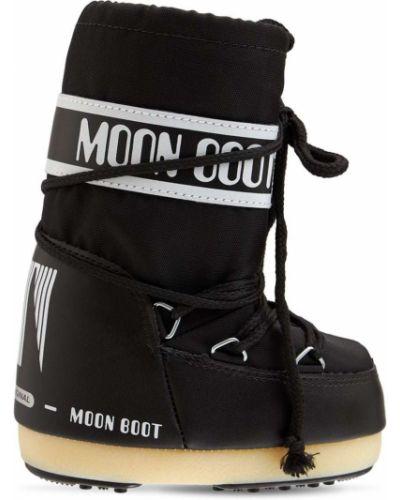 Ботильоны на шнуровке - черные Moon Boot