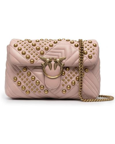 Стеганая розовая кожаная сумка через плечо Pinko