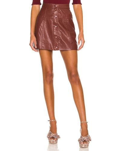 Кожаная юбка мини - бордовая Free People