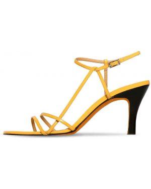 Sandały skórzane na obcasie - żółte Maryam Nassir Zadeh