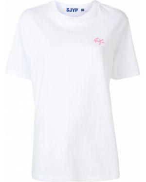Хлопковая синяя прямая футболка с круглым вырезом Sjyp