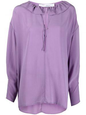 Фиолетовая шелковая блузка с вырезом Iro