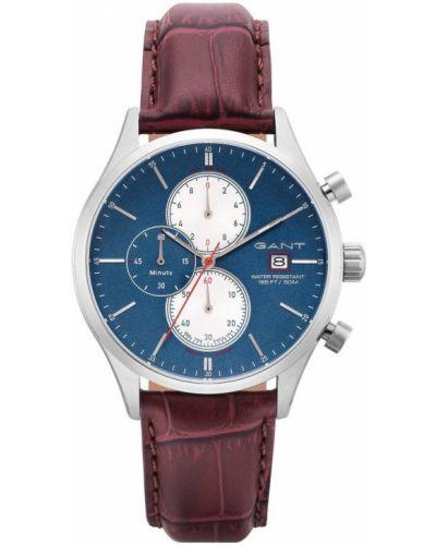 Brązowy zegarek mechaniczny srebrny kwarc Gant