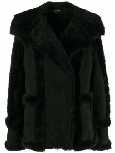 Кожаное черное пальто классическое с капюшоном Tom Ford