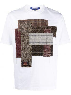 Ватная с рукавами белая рубашка с короткими рукавами из вискозы Junya Watanabe Man