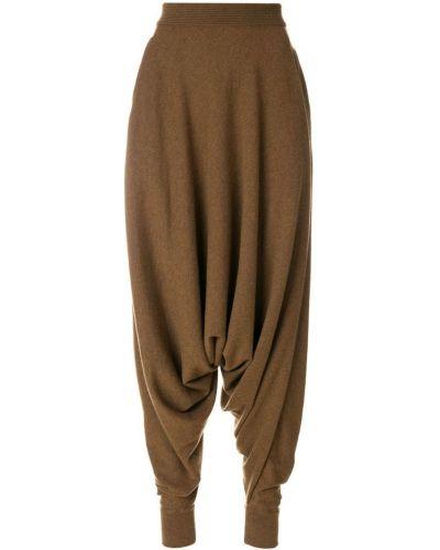 Коричневые кашемировые брюки с завышенной талией Agnona