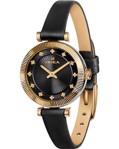 Часы на кожаном ремешке черные кварцевые Nika