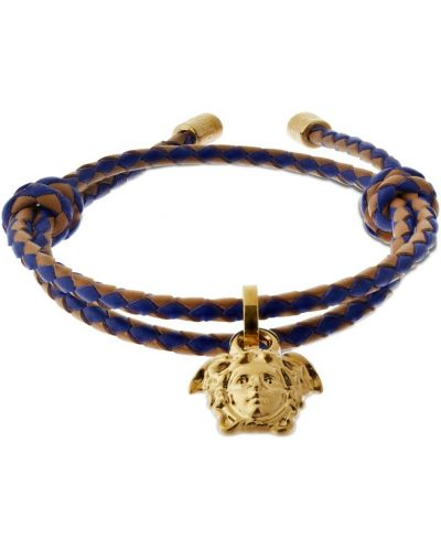 Кожаный браслет - синий Versace
