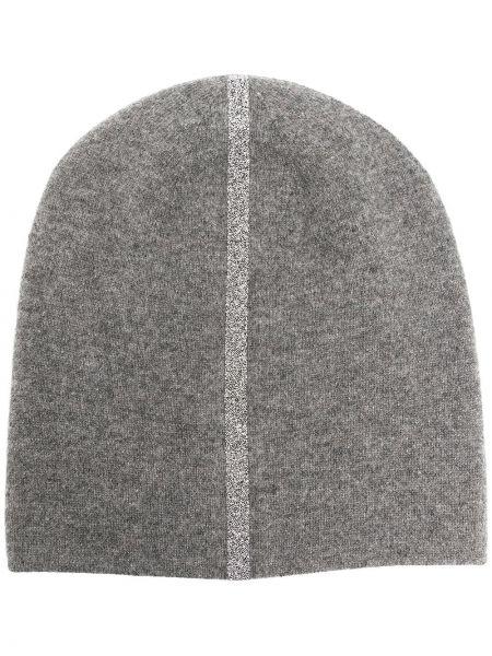 Серая кашемировая теплая шапка бини с нашивками Warm-me