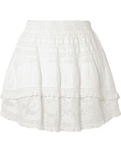 Хлопковая белая юбка мини с вышивкой Loveshackfancy