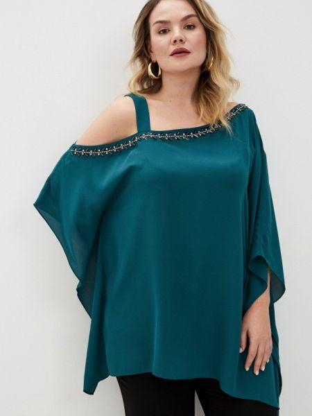 Блузка с открытыми плечами синяя весенний Persona By Marina Rinaldi