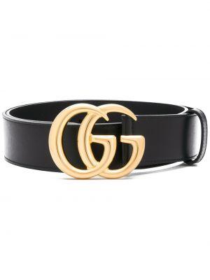 Кожаный черный ремень с пряжкой с перфорацией Gucci