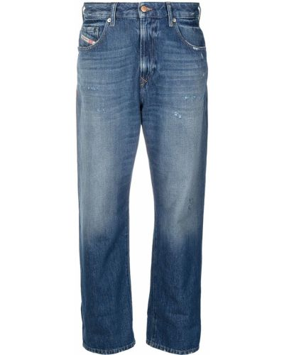 Skórzany niebieski jeansy do kostek z łatami Diesel