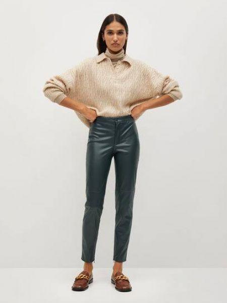 Зеленые кожаные брюки дудочки эластичные Mango