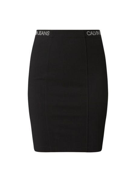 Czarny dżinsowa spódnica na gumce wąskie cięcie z wiskozy Calvin Klein Jeans