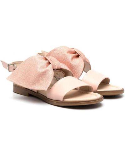 Różowe sandały skorzane peep toe Florens