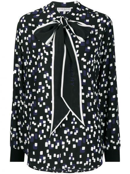 Jedwab czarny bluzka z długim rękawem z mankietami z długimi rękawami Givenchy