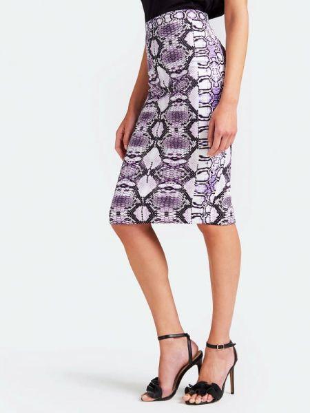 Fioletowa spódnica ołówkowa materiałowa z printem Guess