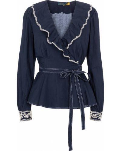Bawełna niebieski bluzka z falbankami Polo Ralph Lauren