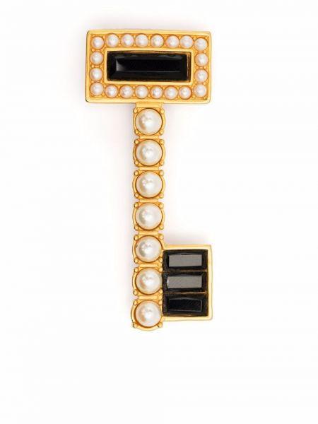 Złota broszka - czarna Karl Lagerfeld Vintage
