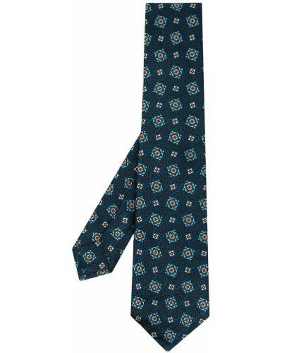 Синий галстук с вышивкой Kiton