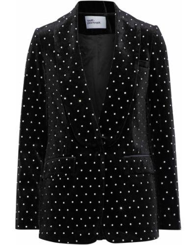 Бархатный черный пиджак с карманами Self-portrait