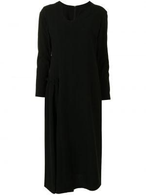 Прямое черное платье макси с длинными рукавами Yohji Yamamoto