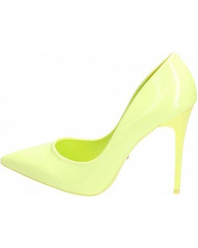 Zielone czółenka skorzane w szpic Vices