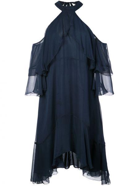 Шелковое платье - синее Nicole Miller