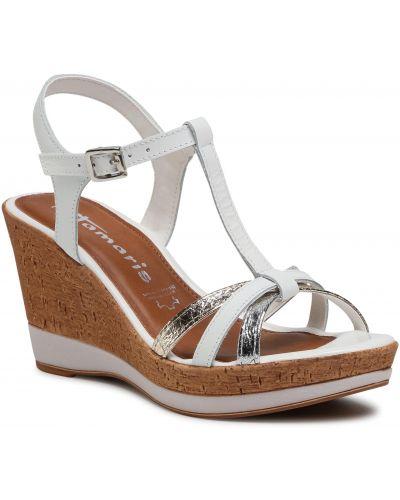 Sandały skórzane - białe Tamaris