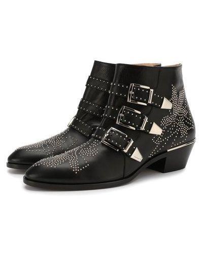 Черные кожаные ботинки на каблуке Chloé